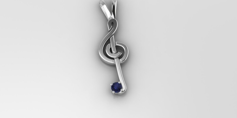 18ct Sapphire Musical Note Pendant