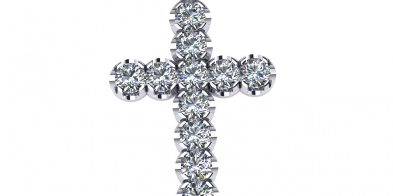 18ct White Gold 12 Stone Round Brilliant Cut Diamond Cross