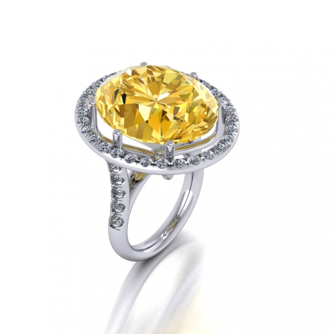 18ct White Gold Citrine and Diamond Ring