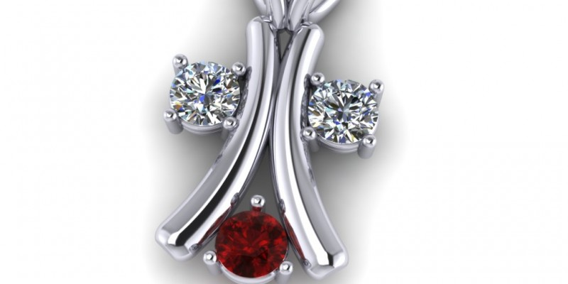 18ct White Gold Ruby and Diamond  Pendant
