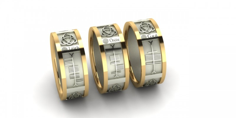 Bespoke Ogham Wedding Ring 18ct Yellow and White Gold