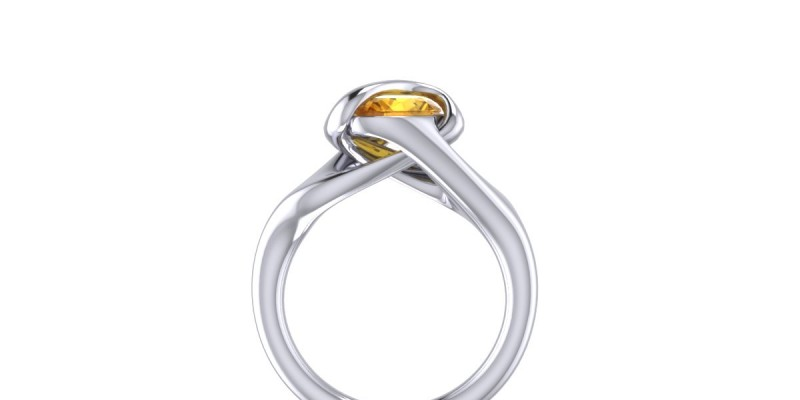 Citrine Dress Ring 18ct White Gold