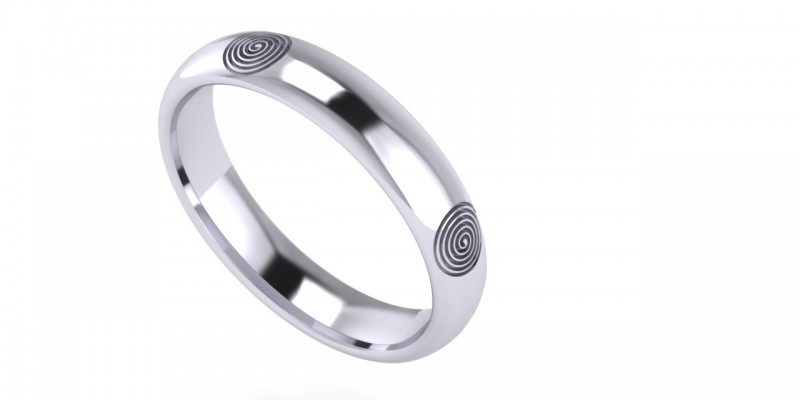 Gents WR Spiral White Gold Ring