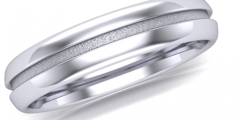 Gents WR4 Sand Blasted Centre Wedding Ring