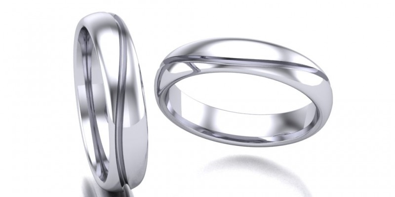 Gents WR5  Single Wave Wedding Ring