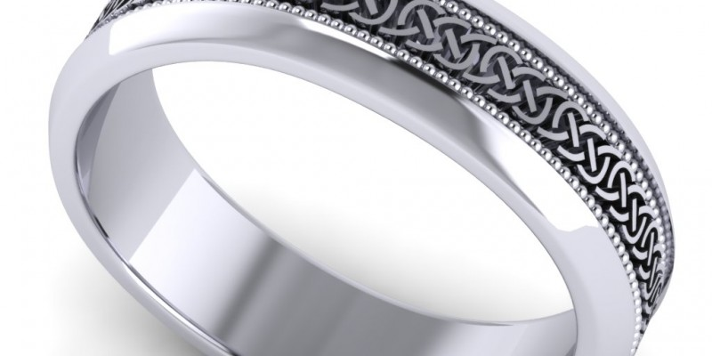 Gents White Celtic Knot and Millgrain Wedding Ring