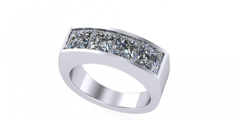 Heavy Ladies 4 Stone Princess Cut 18ct White Gold Ring