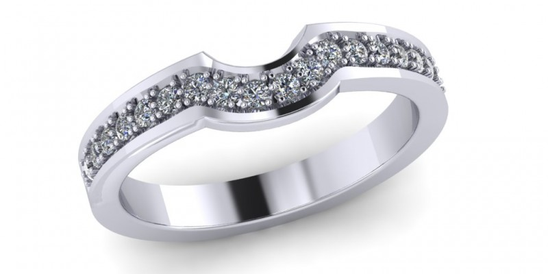 Ladies 18ct White Gold Shaped Fitted Wedding Ring