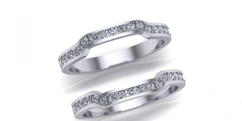 Ladies Platinum Shaped Wedding and Eternity Ring