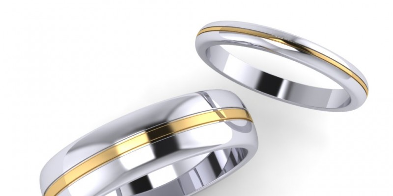 Ladies and Gents White and Yellow Gold Matching Wedding Rings