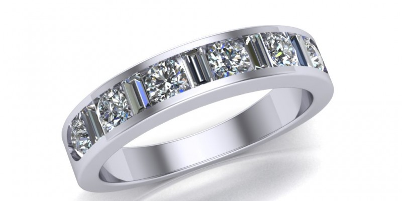 Platinum 11 Stone Round Brilliant Cut and Baguette Diamond Ring
