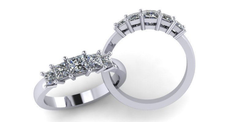 Platinum 5 Stone Princess Cut Diamond Ring