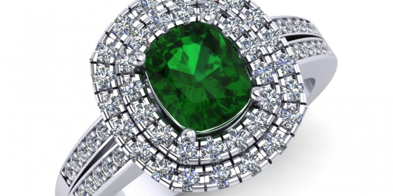 Platinum Emerald Cushion and Diamond Ring
