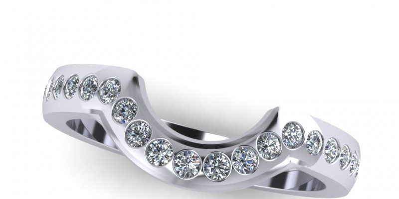 Platinum Ladies Shaped Gypsy Set Wedding Ring