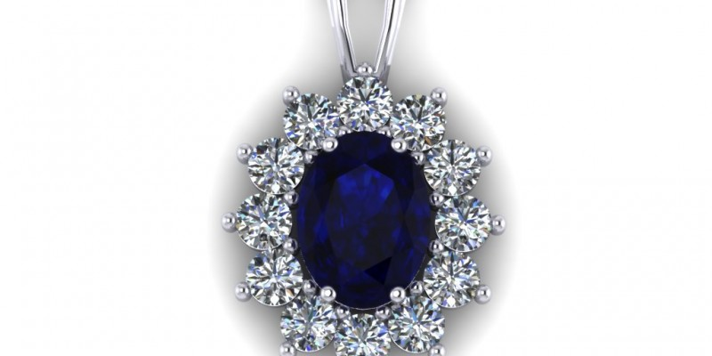 Sapphire and Diamond Pendant 18ct White Gold