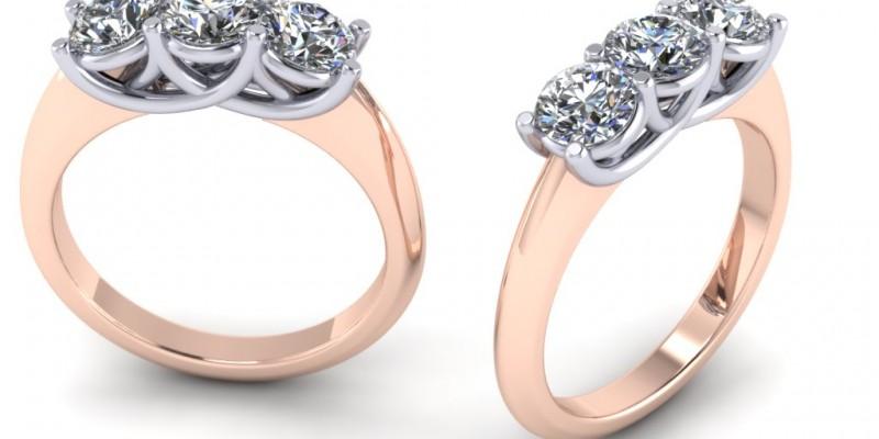 18ct Rose and White Gold 3 Stone Trellis Round Brilliant Cut Diamond Ring Engagement Ring