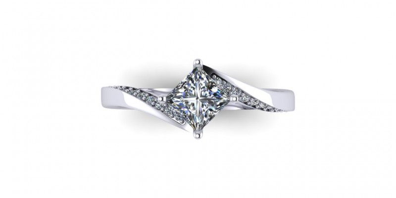 18ct White Gold Princess Cut Diamond Twist Ring Engagement Ring