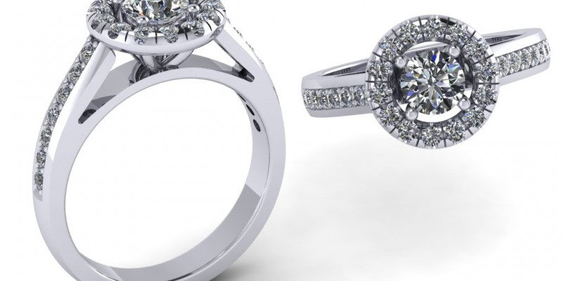 18ct White Gold Rounded Halo Diamond Riing Engagement Ring