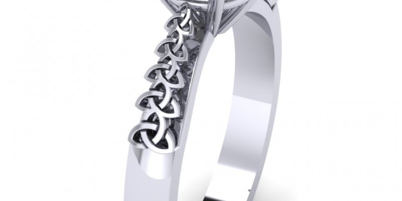 18ct White Gold Single Stone Trinity Knot Celtic Solitaire Engagement Ring