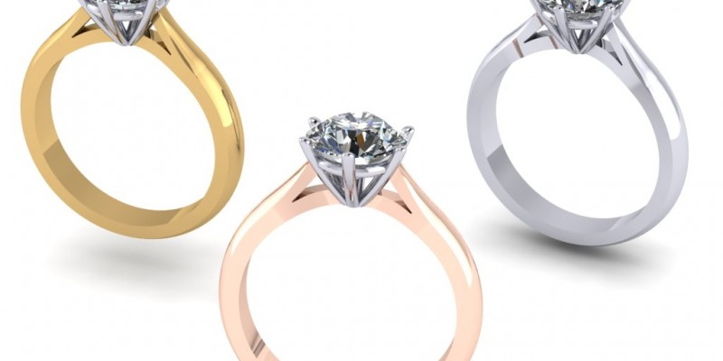 18ct Yellow White and Rose Gold 6 Claw Single Stone Round Brilliant Cut Diamond Ring Engagement Ring