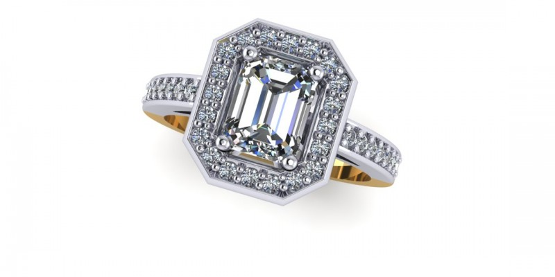 18ct Yellow and White Gold Emerald Cut Diamond Ring Engagement Ring