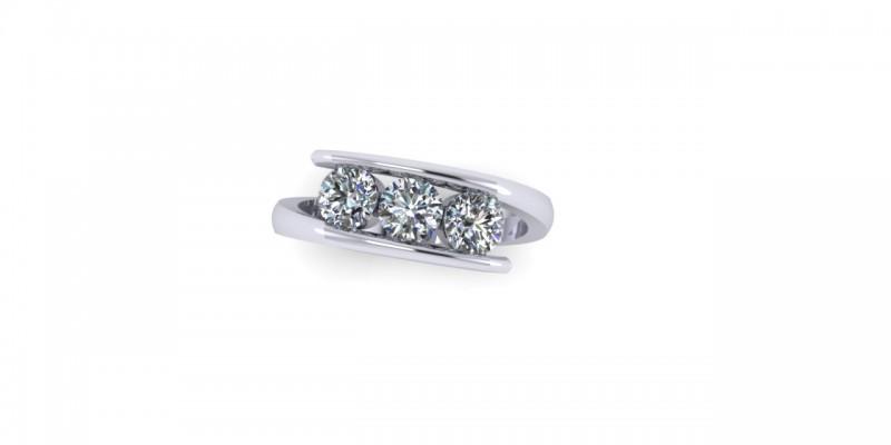 Platinum 3 Stone Round Brilliant Cut Diamond Crossover Ring Engagement Ring