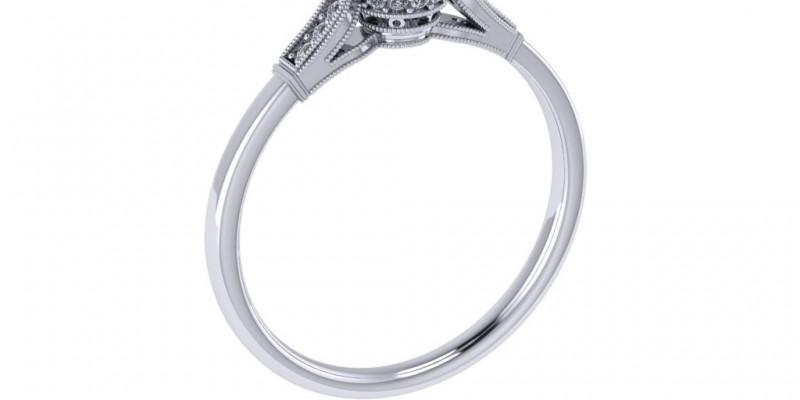 Platinum Antique Single Stone with Shoulder Diamonds Engagement Ring