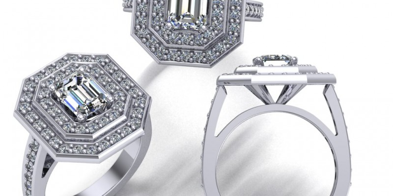 Platinum Double Row Emerald Cut Diamond Halo Ring Engagement Ring