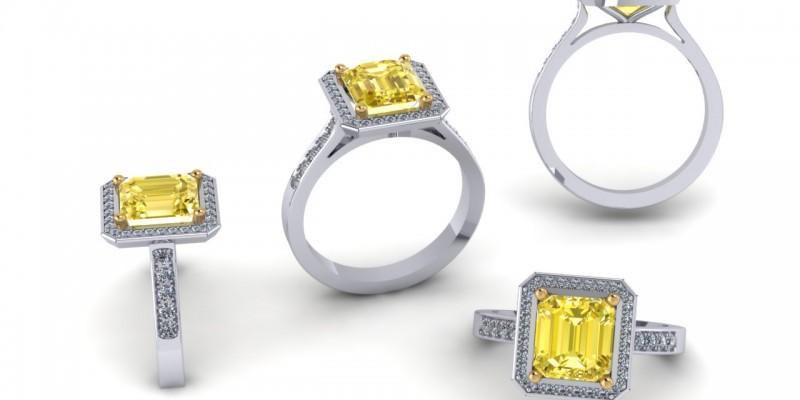 Platinum Emerald Square Yellow Diamond Ring Engagement Ring