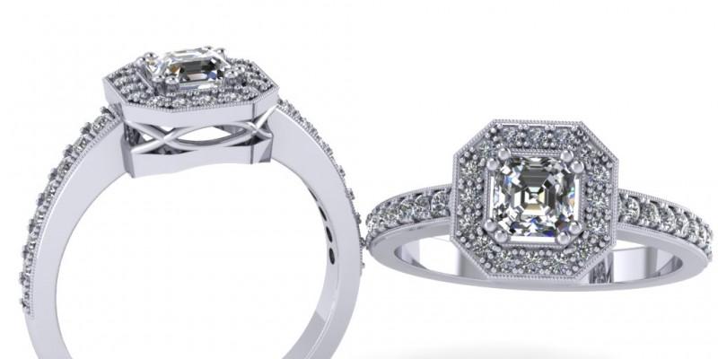 Platinum Radiant Cut Centre Diamond Ring Engagement Ring