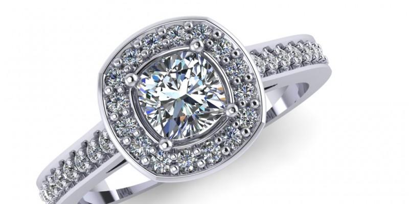 Platinum Square Cushion Centre Halo Diamond Ring Engagement Ring